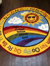 NEW SUN RAINBOW CHILDREN 200X200CM CIRCLE RUGS MATS HOME SCHOOL LEARNING MULTI